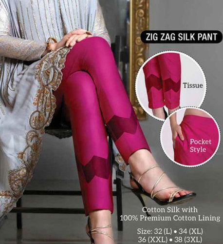 Ladies Zig Zag Silk Pant