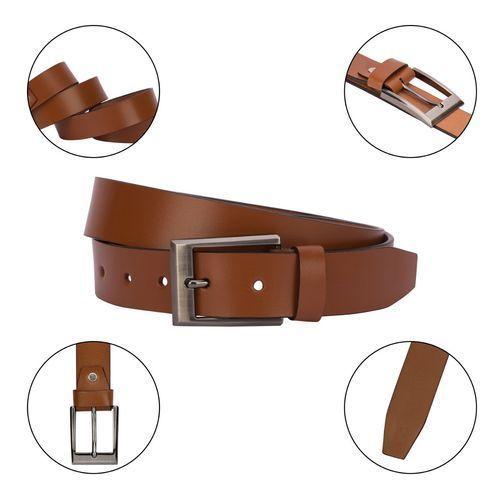 Mens Brown Plain Leather Belt