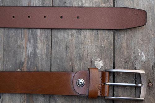 Mens Genuine Leather Brown Casual Belt