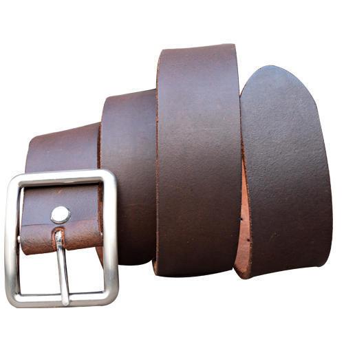 Mens Plain Brown Leather Belt