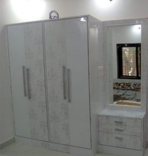 White Stylish Wooden Wardrobe With Dressing Table Easy To Clean
