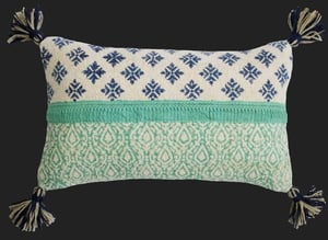 Cotton Chinelle Woven Handblock Printed With Lace Work and Tassels Cushion