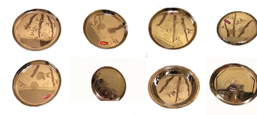 Golden Stainless Steel Dining Plate