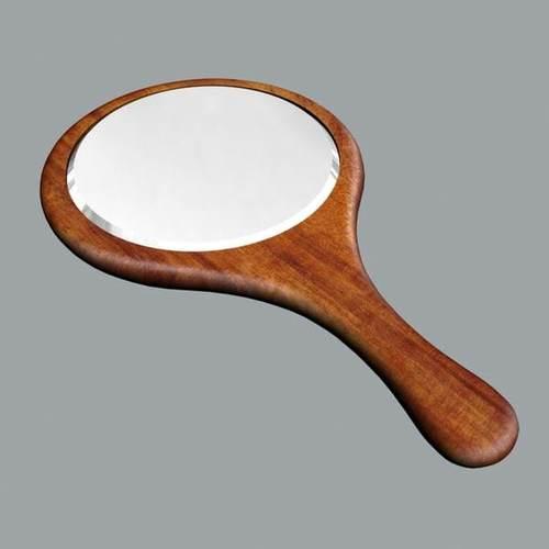 Wooden Frame Hand Mirror