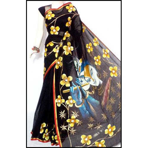 Attractive Bengal Handloom Hand Painted Kerala Cotton Saree