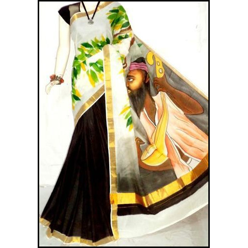 Multicolored Bengal Handloom Hand Painted Kerala Cotton Saree