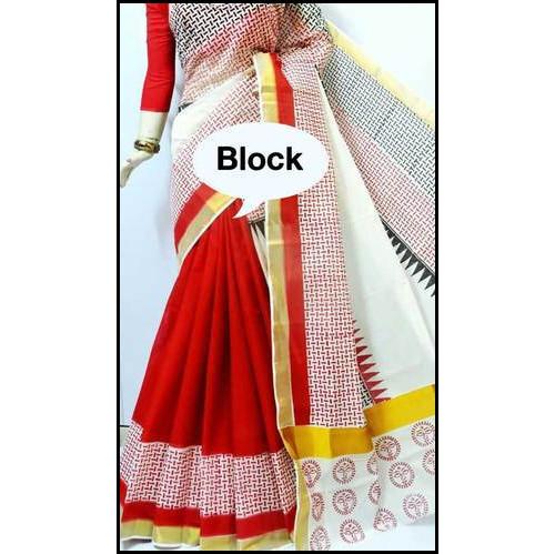 Cotton Block Printed Kerala Saree