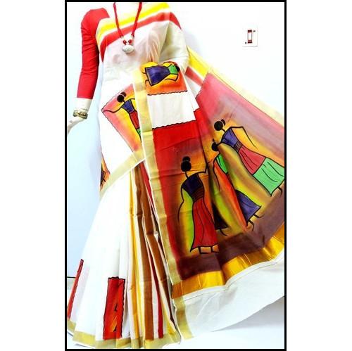 Kerala Cotton Ladies Bengal Handloom Hand Painted Saree