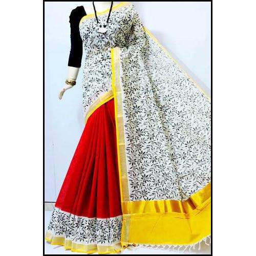 Multicolored Ladies Cotton Printed Saree