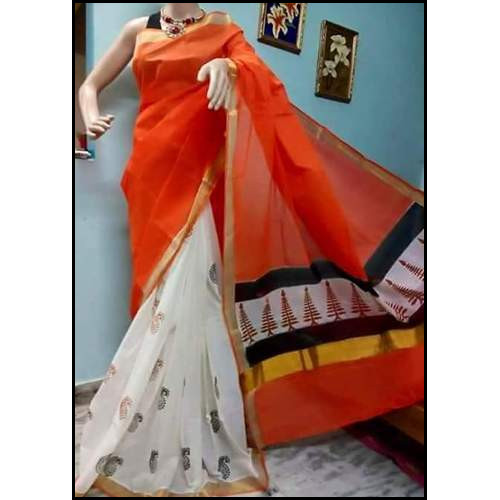 Perfect Finish Kerala Cotton Block Printed Saree