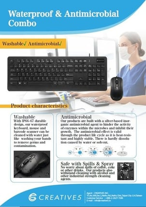 Waterproof and Antimicrobial Keyboard and Mouse Combo