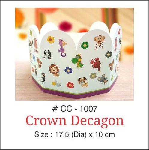 White Colored Birthday Crown Decagon