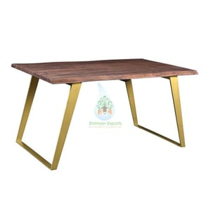 Industrial Live Edge Recycle Wood Dining Table With Metal Legs