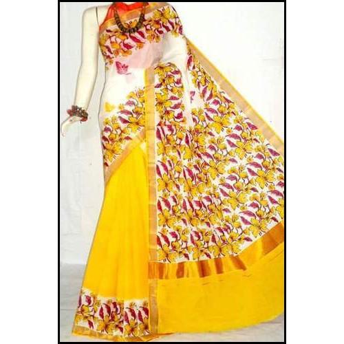 Kerala Cotton Block Printed Eye Catching Look Saree