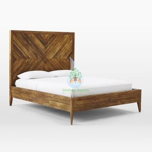 Rustic Reclaimed Wood Bed for Bedroom and Hotel