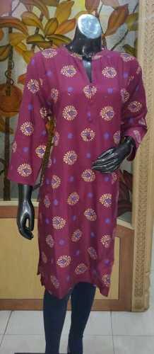 3/4 Sleeves Printed Women Short Kurti