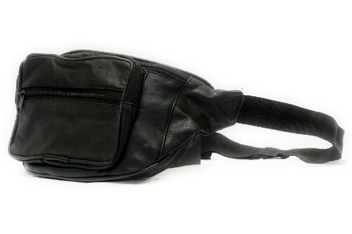 Genuine Sheep Leather Three Zipper Waist Bag