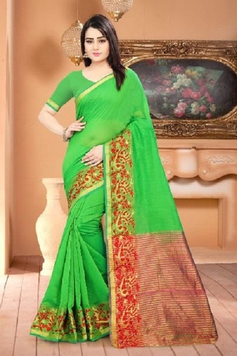 All Green Color Fancy Sarees