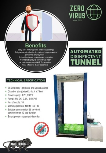 Zero Virus Automated Disinfectant Tunnel