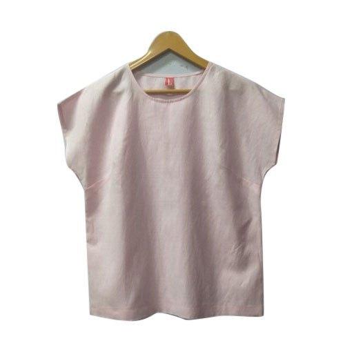 Pink Girls Plain Crop Top