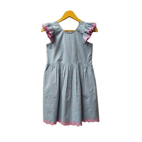 Blue And Pink Kids Denim Casual Frock