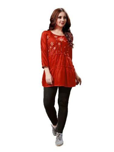 Red Color Ladies Short Kurti