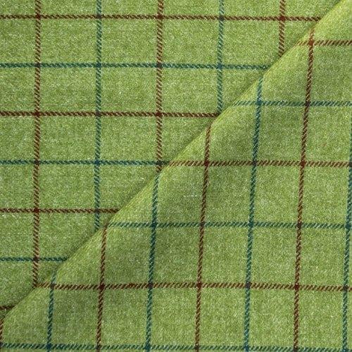 Green Wool Check Tweed Fabric