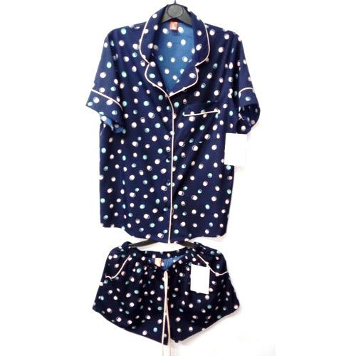 Ladies Blue Dotted Printed Lounge Wear
