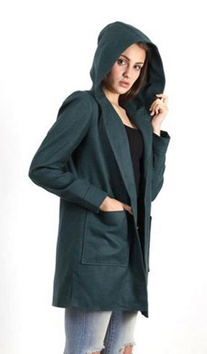 Green Ladies Plain Woolen Jacket