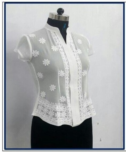 Lucknowi Hand Embroidery Short Top