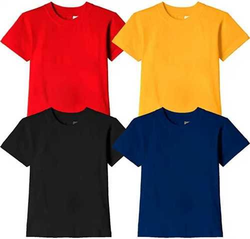 Round Neck Short Sleeves Plain Dyed Boys T shirt