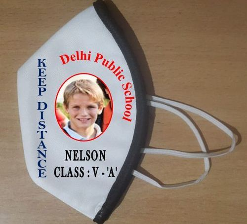 White Colored Fabric Students Mask
