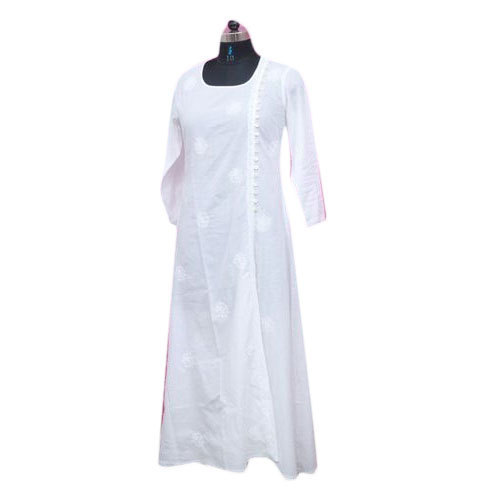 White Lucknowi Fancy Chikan Kurti