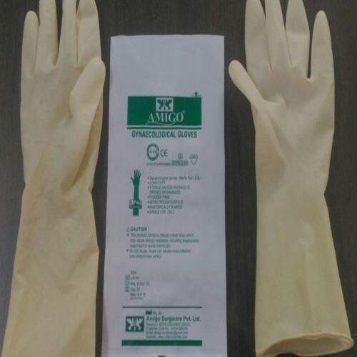 White Amigo Latex Gynaecological Gloves