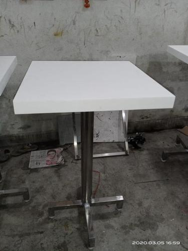 White & Silver Finely Finished Square Top Table