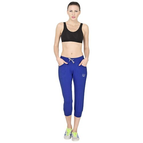 Ladies Blue Regular Fit Sports Track Pants Material: Cotton