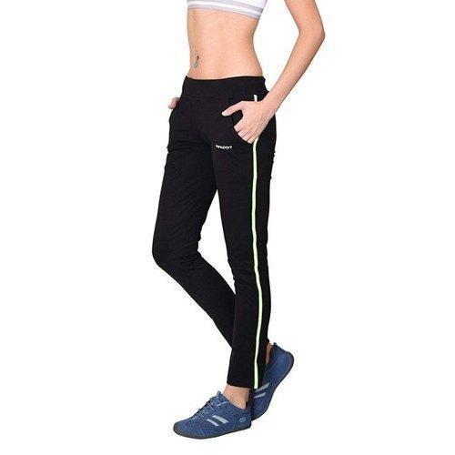 Ladies Cotton Black Track Pants