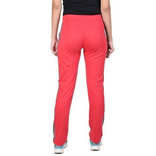 Ladies Cotton Jersey Red Track Pants