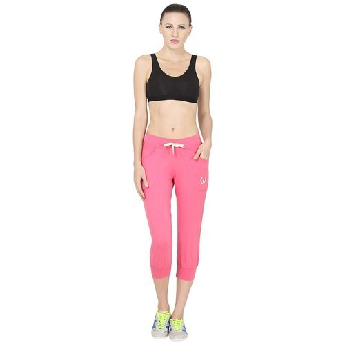 Ladies Cotton Pink Regular Fit Sports Track Pants