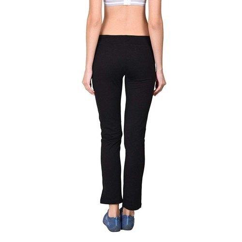 Ladies Cotton Spandex Jersey Black Track Pants
