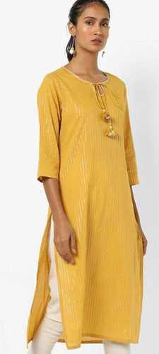 Ladies Mustard Colour Straight Kurta