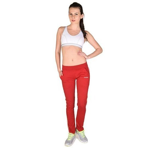 Women Cotton Spandex Jersey Red Track Pants