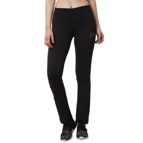 Womens Solid Black Track Pants
