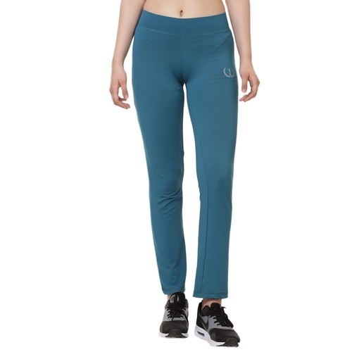 Womens Solid Blue Track Pants