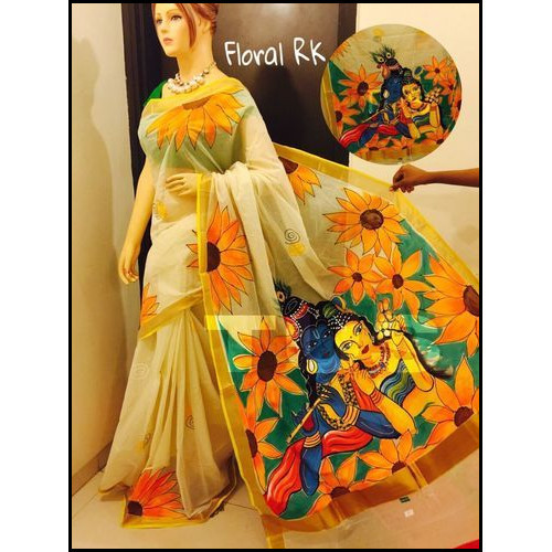 Bengal Handloom Hand Painted Cotton Saree in Floral RK