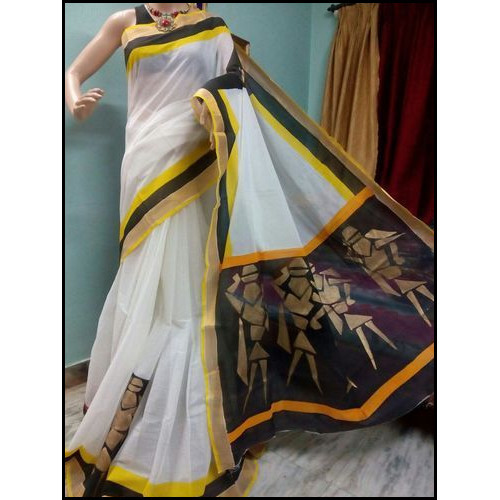 Bengal Handloom Hand Painted Cotton Saree in Wood Putul