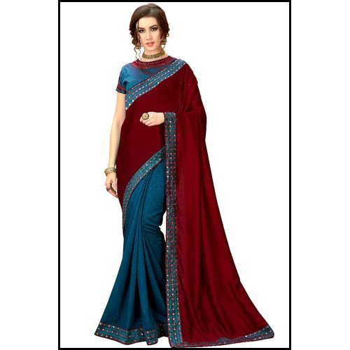 Burberry Silk Saree With Mirror Embroidery Work