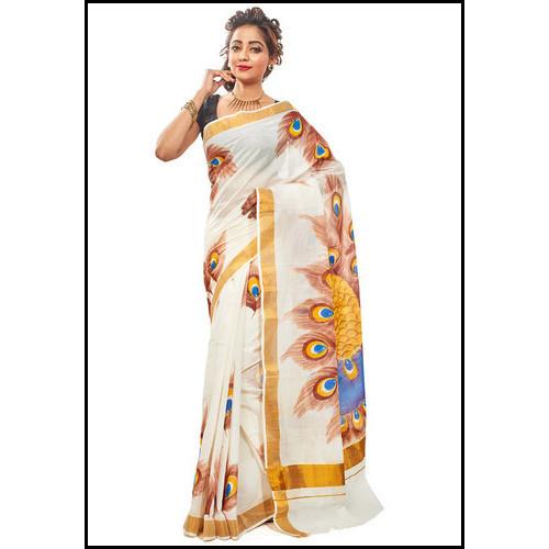 Cotton Hand Painted Bengal Handloom Saree