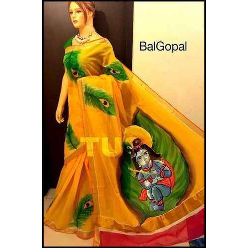 Cotton Hand Painted Bengal Handloom Saree in Bal Gopal
