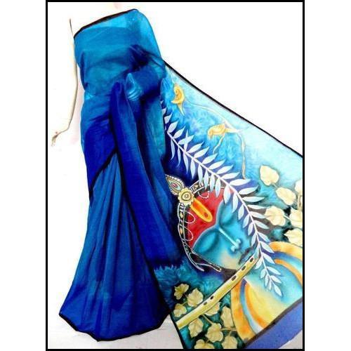 Cotton Hand Painted Bengal Handloom Saree in Blue Krishna